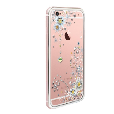 apbs iPhone6s / 6 4.7吋施華彩鑽鋁合金屬框手機殼-玫瑰金雪絨花