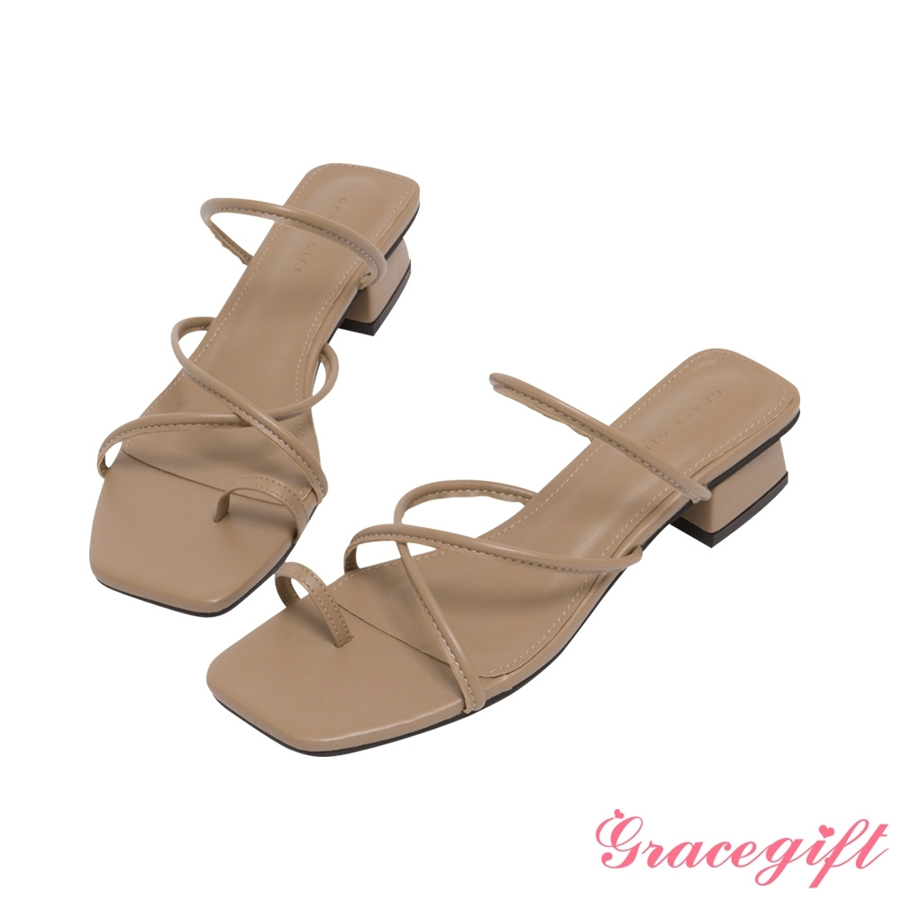 Grace gift-交叉細帶套趾低跟涼拖鞋 棕