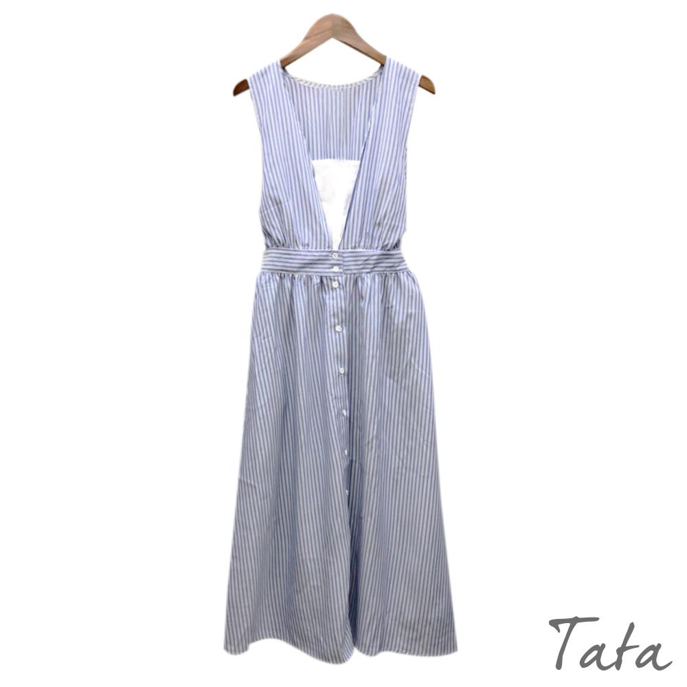 V領直條紋洋裝 共二色 TATA