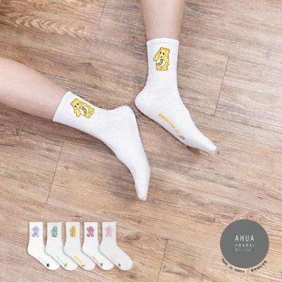 阿華有事嗎  韓國襪子 白底可愛水果熊熊中筒襪 韓妞必備 正韓百搭純棉襪