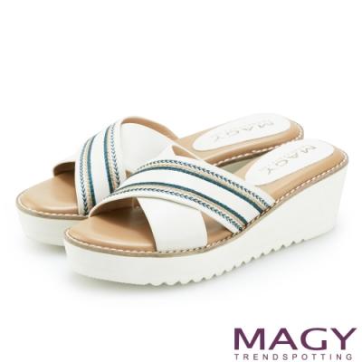 MAGY 異國繡線寬版交叉牛皮厚底拖鞋 白色