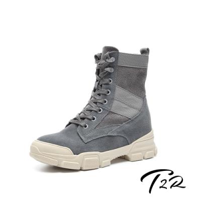 T2R-正韓空運-真皮女款真皮帆布高筒靴-隱形增高鞋-增高7公分-灰