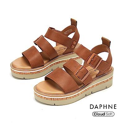 達芙妮DAPHNE 涼鞋-休閒寬版舒適厚底羅馬涼鞋-棕色