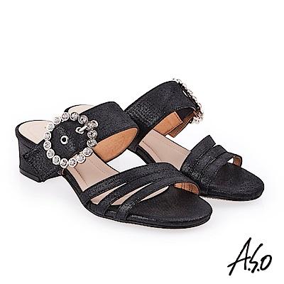 A.S.O 炫麗魅惑 金箔絨面低跟奈米涼拖鞋 黑色