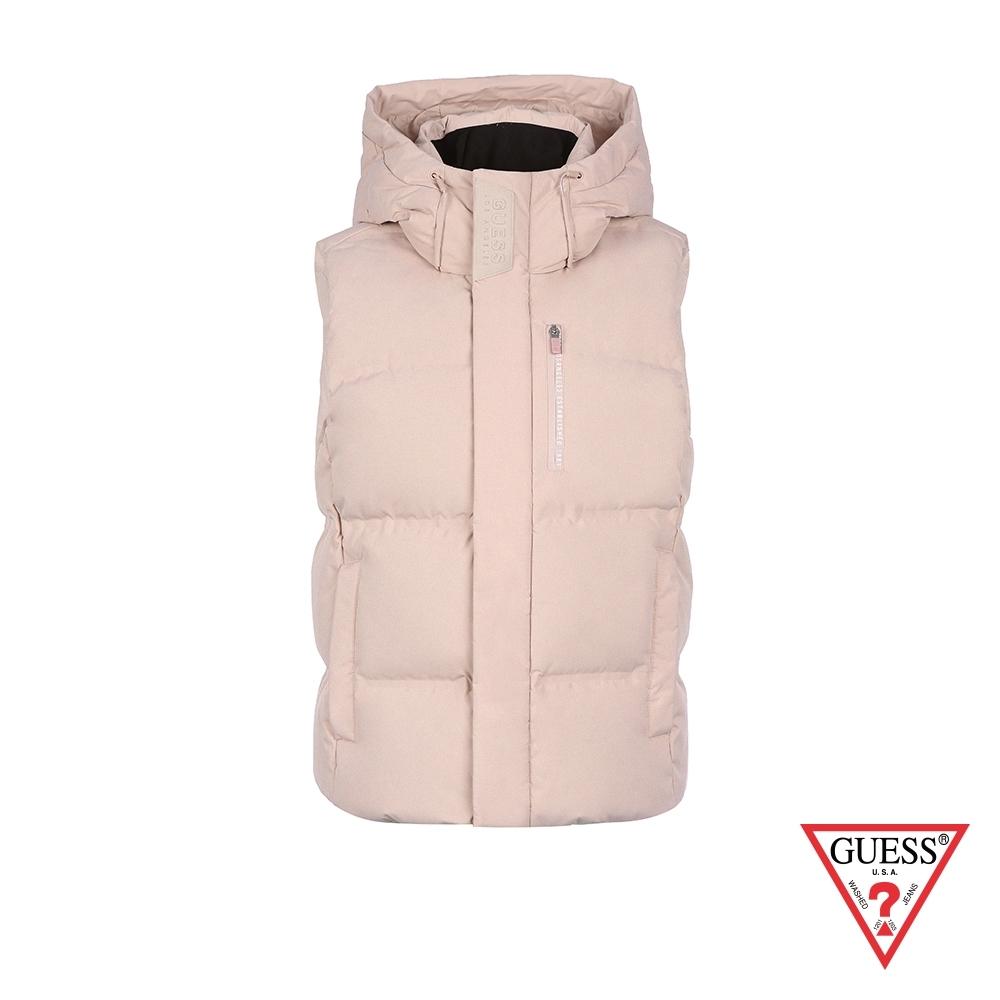 GUESS-女裝-極簡保暖羽絨連帽背心-粉紅