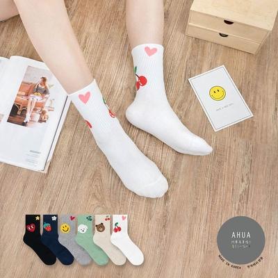 阿華有事嗎  韓國襪子  襪口可愛插圖系列中筒襪 韓妞必備 正韓百搭純棉襪