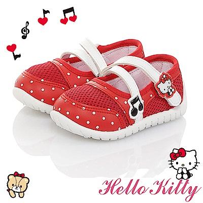 HelloKitty童鞋 音符系列 透氣輕量減壓抗菌防臭室內外娃娃鞋-紅