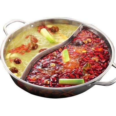 晶輝鍋具-家用電磁爐不鏽鋼鴛鴦鍋雙耳加厚火鍋專賣店販售34公分 (F1010-34)