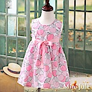 Mini Jule 洋裝 滿版櫻桃點點印花綁帶無袖洋裝(粉)