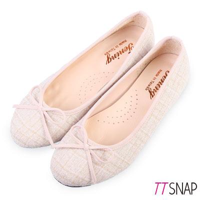 TTSNAP娃娃鞋-MIT英倫格紋蝴蝶結平底鞋 米