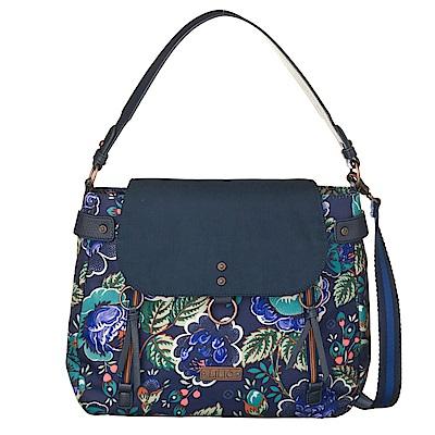 織帶手提斜背包-法國玫瑰復刻印花 -紺青藍 LiliO