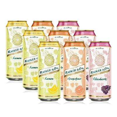 【Radler 0.0% 萊德】德國原裝進口無酒精啤酒風味飲_檸檬+接骨木+葡萄柚500ml*3+3+3入