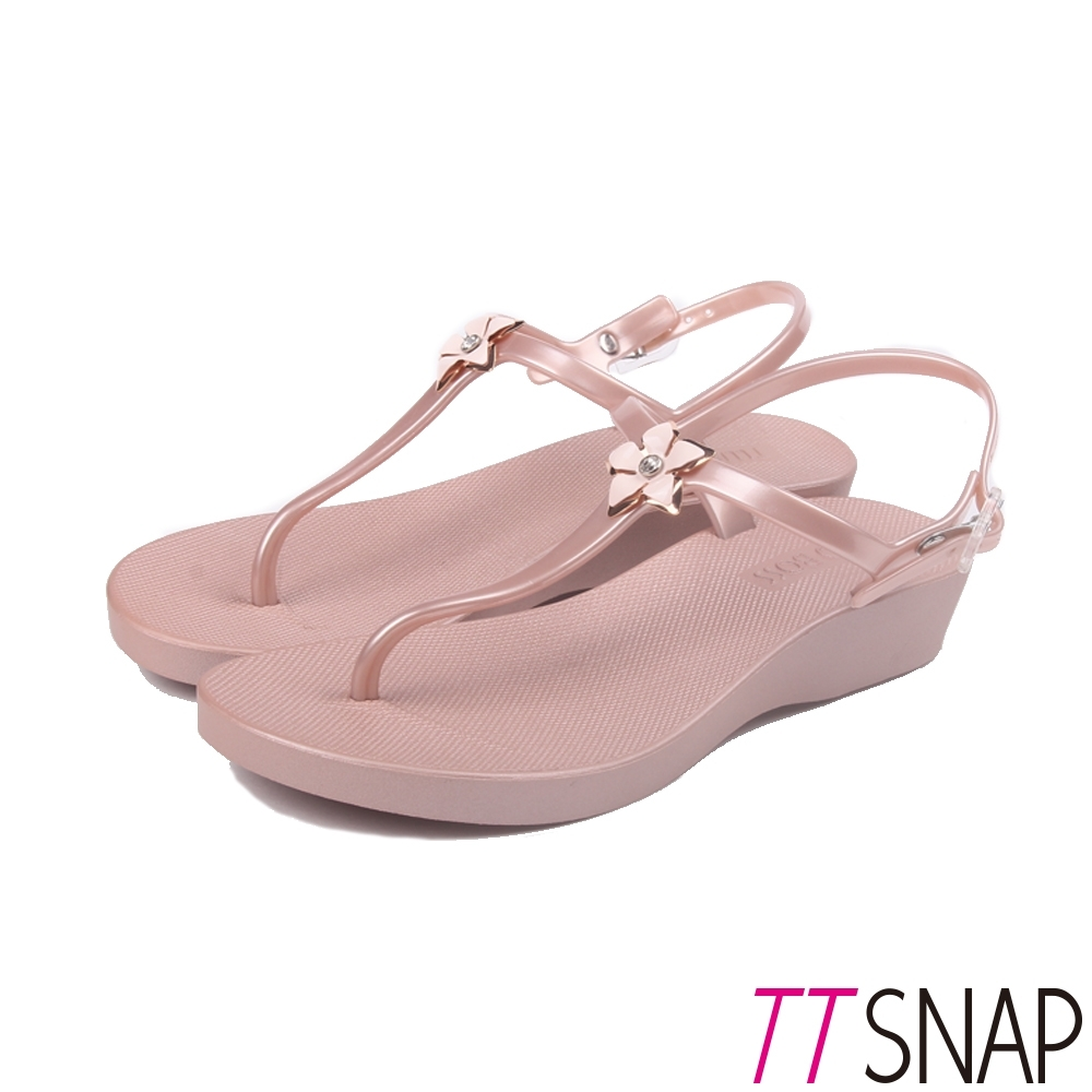 TTSNAP涼鞋-花型水鑽粉蝶夾腳防水鞋 粉