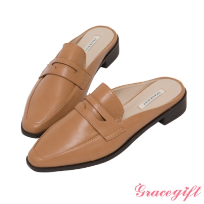 Grace gift-經典便仕低跟穆勒鞋 棕