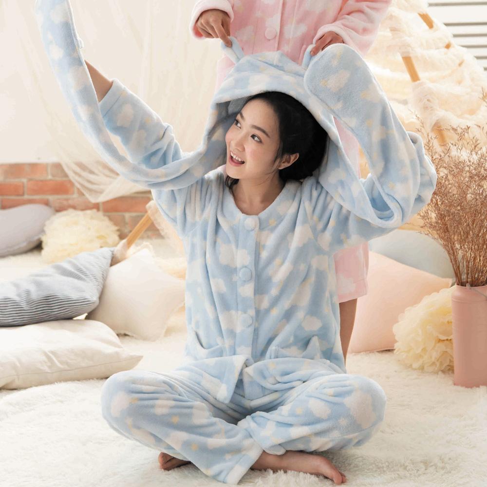 華歌爾睡衣-Pretty Amy雲朵法蘭絨  M-L 褲裝家居服(藍)