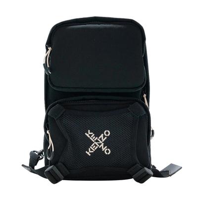 KENZO Big X 運動尼龍斜肩/單肩背包(黑)