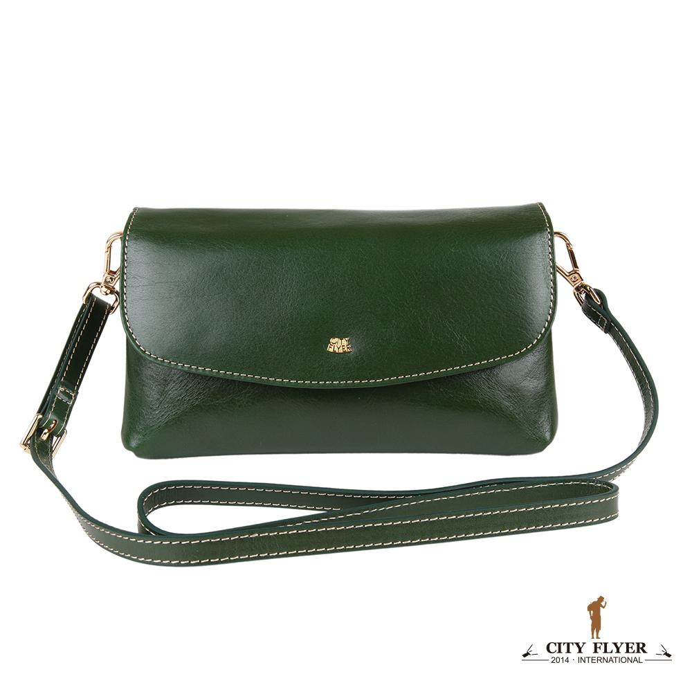 CITY FLYER 城市旅者 義大利植鞣牛皮系列斜側背翻蓋磁鈕雙主袋小包-綠色