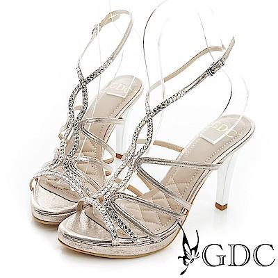 GDC閃耀-水鑽細帶真皮高跟涼鞋-金色