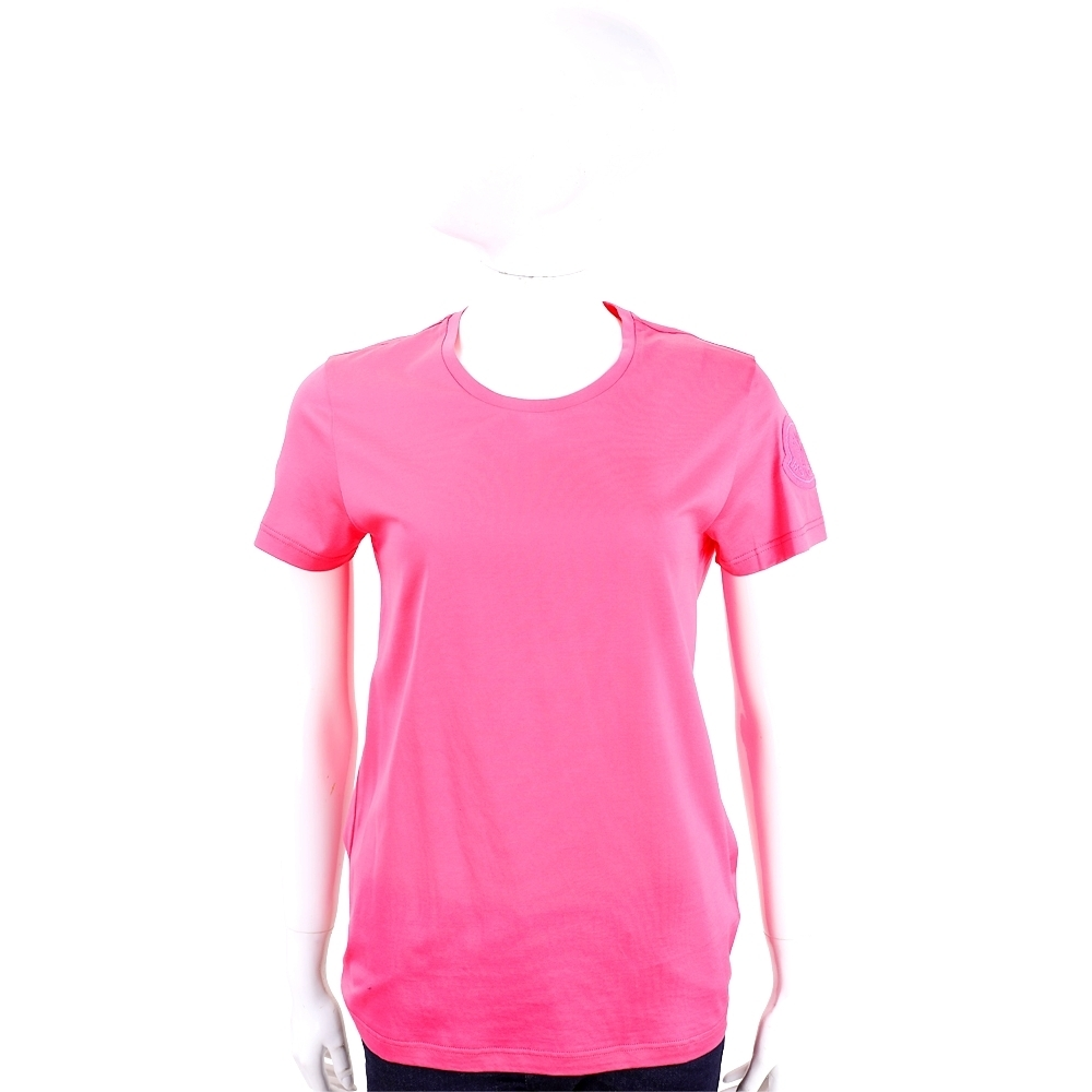 MONCLER 品牌徽章桃紅色短袖T恤