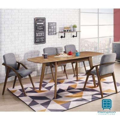 漢妮Hampton丹迪系列全實木三段式拉合餐桌椅組(1桌4椅)-130*80*76 cm