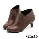 Miaki-踝靴時尚併色側拉鍊短靴(MIT)-棕