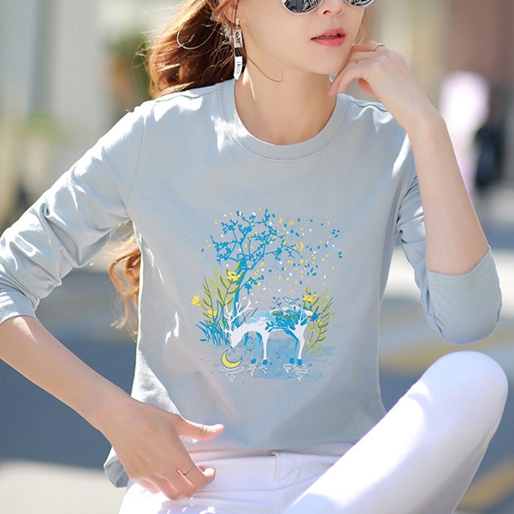 初色  小鹿印花圓領T恤-灰藍色-(M-2XL可選)