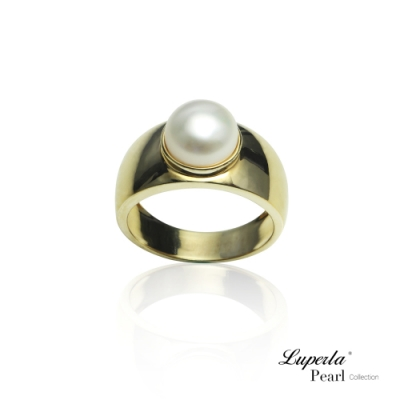 大東山珠寶 純銀天然珍珠戒指 金色年華