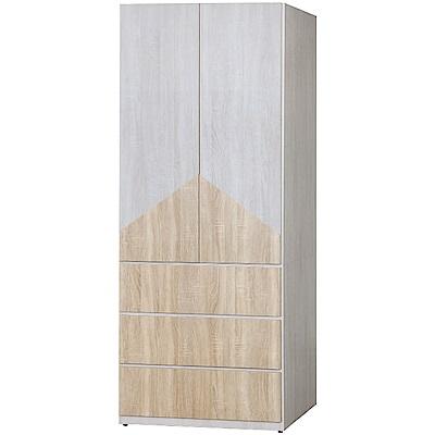 綠活居 莫伊爾2.7尺二門三抽衣櫃(二色可選)-81.8x57x198.5cm免組