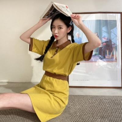 套裝 撞色拼接短袖短裙套裝NG10193-創翊韓都