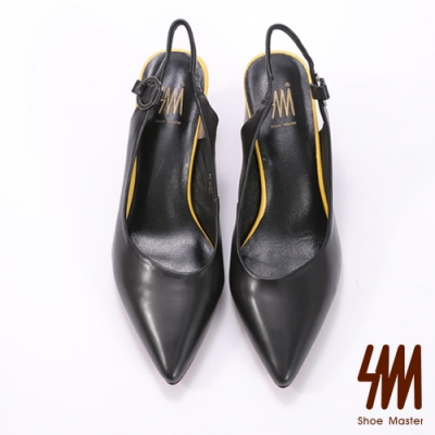 SM-素面真皮尖頭V型後空彩跟涼鞋