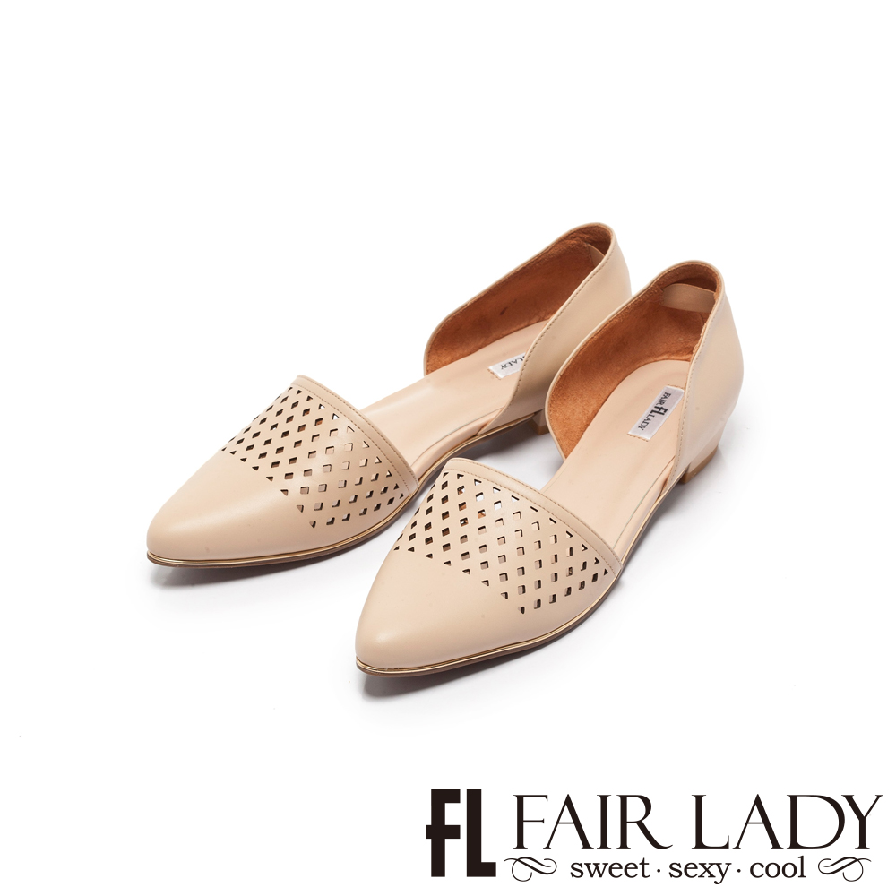 Fair Lady優雅小姐Miss Elegant雕花尖頭側空低跟鞋卡其