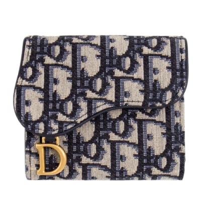 [聖誕限量包裝]DIOR 老花 復古金屬 三摺短夾 (藍色) Saddle Oblique Lotus Wallet