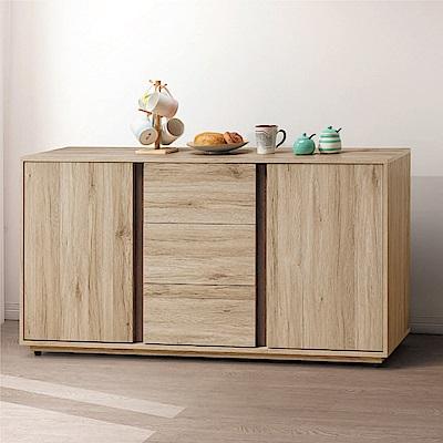綠活居 伊琳時尚5尺二門三抽餐櫃/收納櫃-151.2x40x80.2cm免組