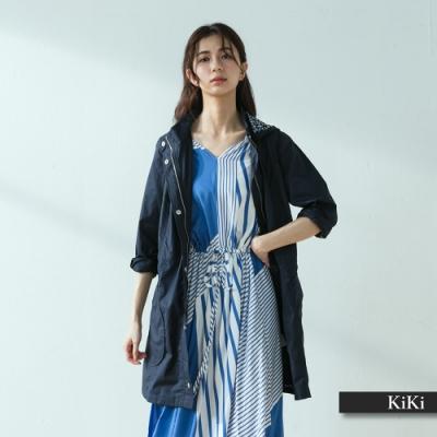 【KIKI】純棉長版顯瘦連帽-外套(三色)
