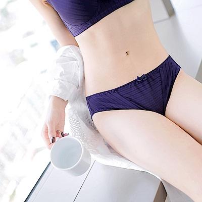 光澤感條紋拼接內褲-OB大尺碼