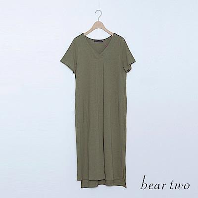 beartwo 純棉素面V領休閒長版洋裝(二色)