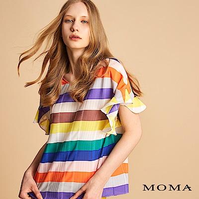 MOMA 彩色條紋荷葉袖上衣