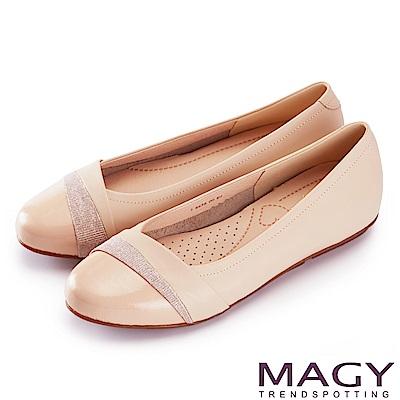 MAGY 甜美混搭新風貌 金蔥布面點綴牛皮娃娃鞋-粉色