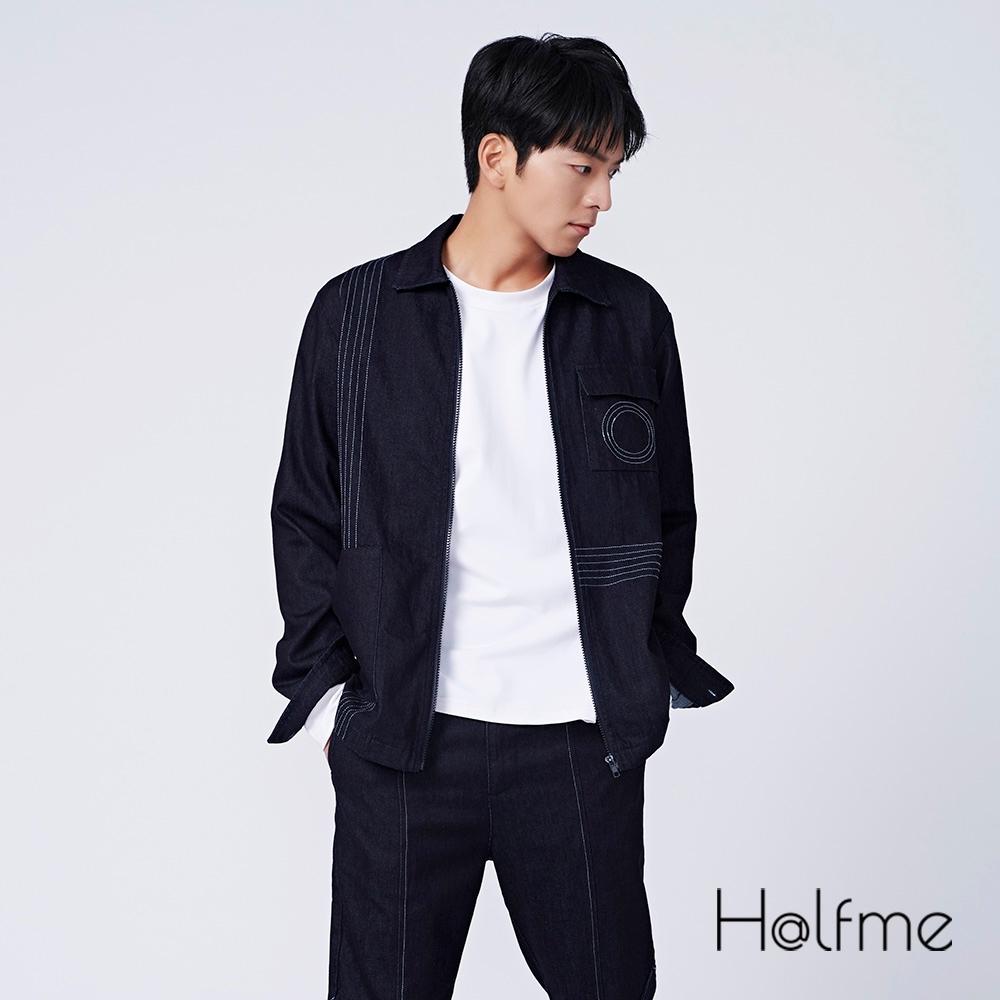 Halfme-幾何裝飾線牛仔外套-男女