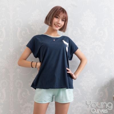 睡衣 彈性棉質短袖兩件式睡衣(C01-100701毛絨絨發懶兔) Young Curves