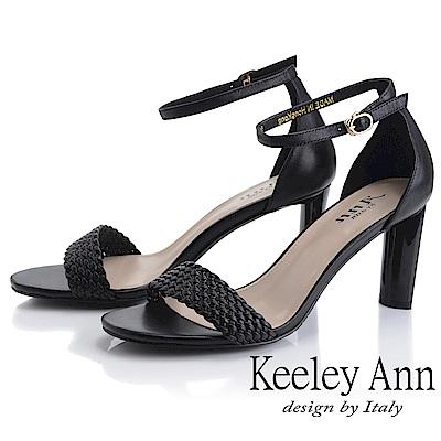 Keeley Ann簡約一字帶 編織半圓造型高跟涼鞋(黑色-Ann系列)