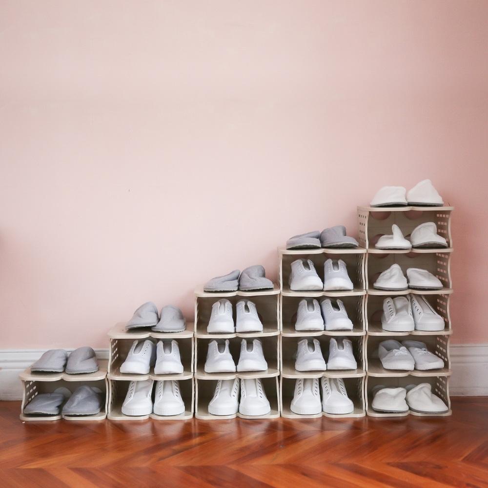 完美主義 簡約可堆疊鞋架/鞋櫃/鞋盒-2色(15入)