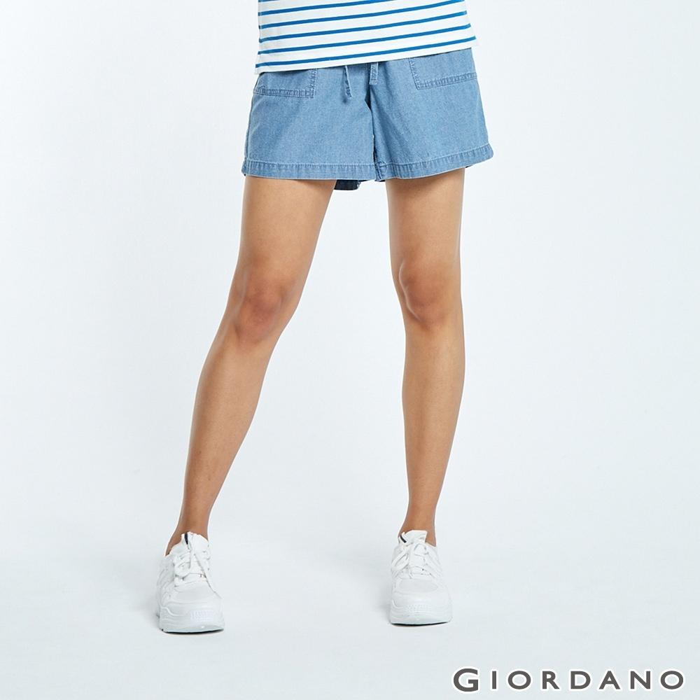 GIORDANO 女裝純棉薄牛仔休閒短褲-77 淺藍