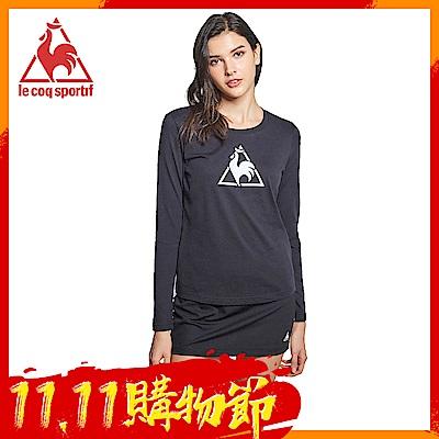 le coq sportif 法國公雞牌休閒長袖T恤 女-黑