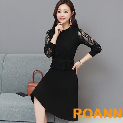 圓領拼接透膚花樣蕾絲長袖洋裝 (共二色)-ROANN