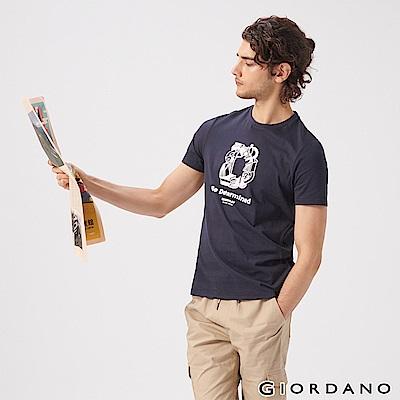 GIORDANO 男裝LEARN N PLAY系列印花短袖T恤-72 標誌海軍藍