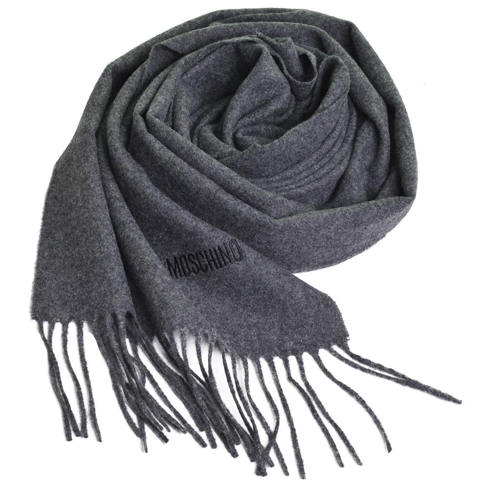 MOSCHINO 義大利製美麗諾羊毛字母LOGO刺繡高質感羊毛圍巾(深灰色) @ Y!購物