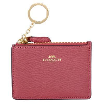 COACH乾燥玫瑰色防刮皮革後卡夾鑰匙零錢包