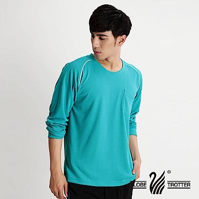 【遊遍天下】MIT男款吸濕排汗機能圓領長衫L038孔雀綠