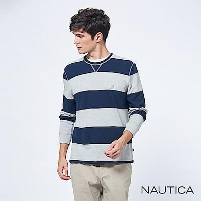 Nautica經典條紋純棉長袖TEE-藍灰